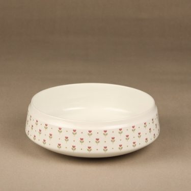 Arabia Miniflora bowl, white, designer Esteri Tomula, silk screening, flower theme