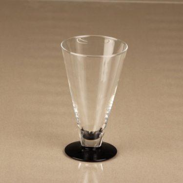 Nuutajärvi Klippan lasi, kirkas, musta, 4 kpl, suunnittelija Markku Salo,