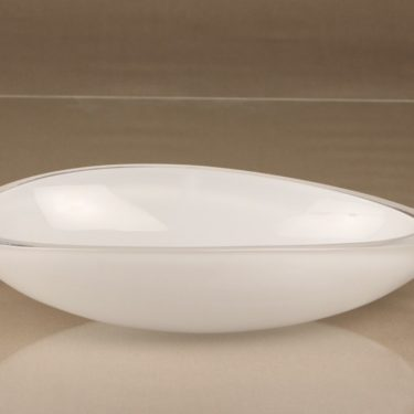 Iittala Peace art glass, white, designer Kerttu Nurminen, opal glass, signed, 3
