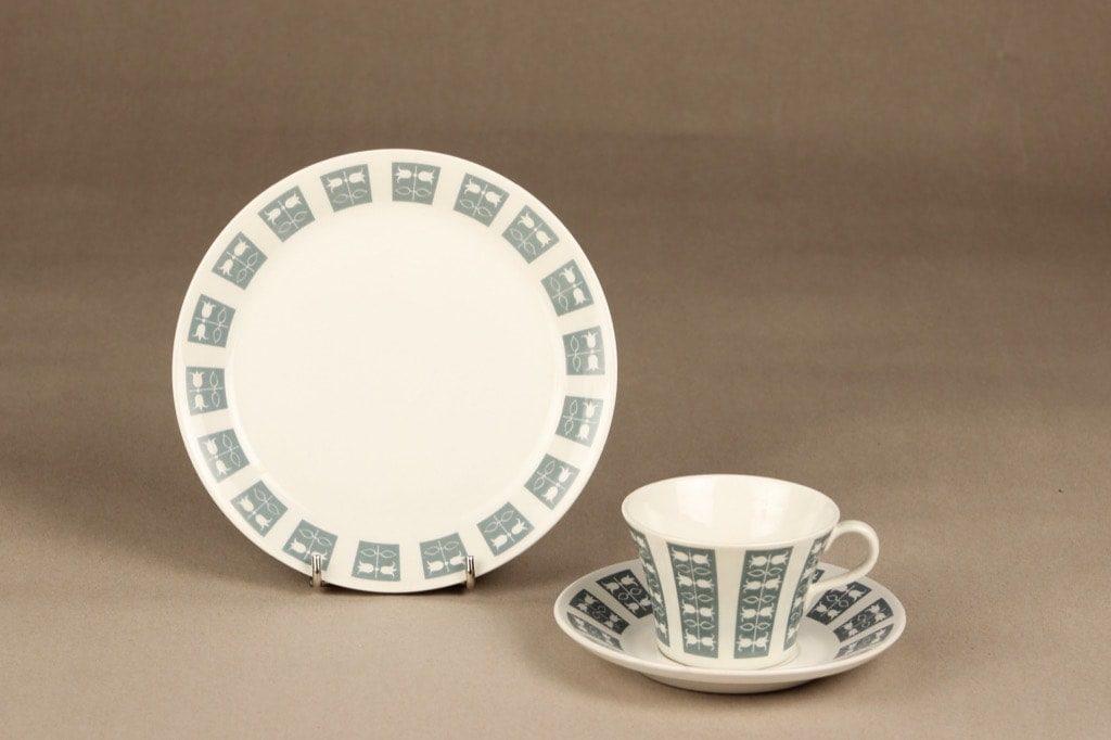 Arabia Hilppa kahvikuppi, 3 osainen, suunnittelija Esteri Tomula, 3 osainen, serikuva