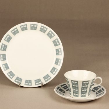 Arabia Hilppa coffee cup, saucer and plate, Esteri Tomula