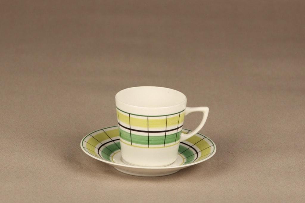 Arabia Verkko kahvikuppi, käsinmaalattu, suunnittelija Esteri Tomula, käsinmaalattu, retro