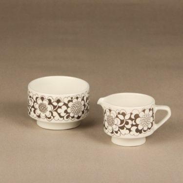 Arabia Gardenia sokerikko ja kermakko, harmaa, suunnittelija Esteri Tomula, serikuva