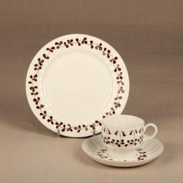 Arabia Vanamo kahvikuppi, 3-osainen, suunnittelija Esteri Tomula, 3-osainen, serikuva