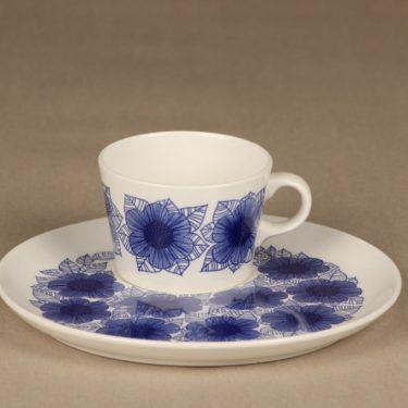 Arabia Malva kuppi ja erikoislautanen, sininen, suunnittelija Esteri Tomula, serikuva