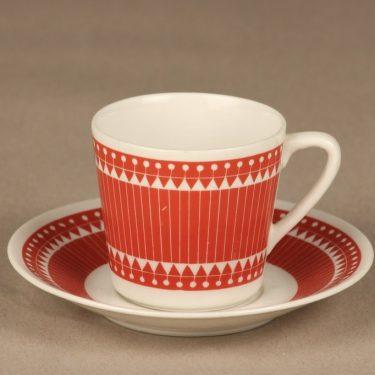 Arabia Sanna II kahvikuppi, punainen, suunnittelija Esteri Tomula, serikuva