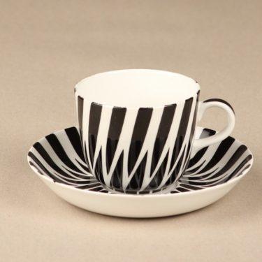 Arabia Toini kahvikuppi, mustavalkoinen, suunnittelija Toini Muona, käsinmaalattu