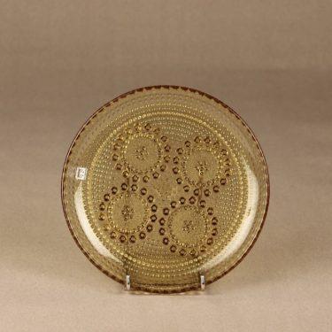 Riihimäen lasi Grapponia plate, amber, Nanny Still