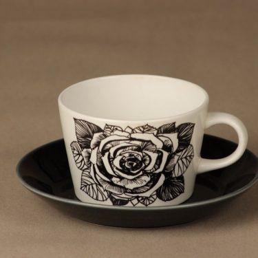 Arabia Musta ruusu teekuppi, mustavalkoinen, suunnittelija Esteri Tomula, serikuva