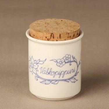 Arabia Sininen spice jar, white pepper, designer Raija Uosikkinen
