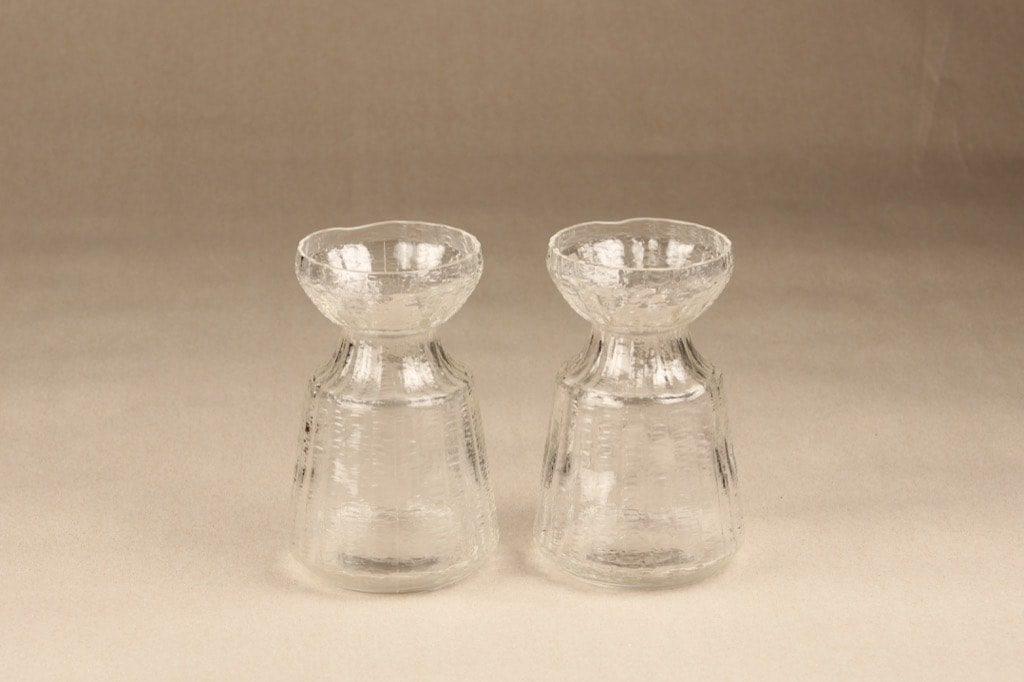 Riihimäen lasi Hyasintti maljakko, kirkas, 2 kpl, suunnittelija Tamara Aladin,