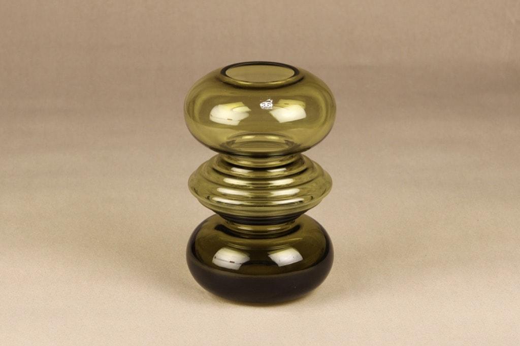 Riihimäen lasi Tiimalasi maljakko. oliivinvihreä, suunnittelija Nanny Still,