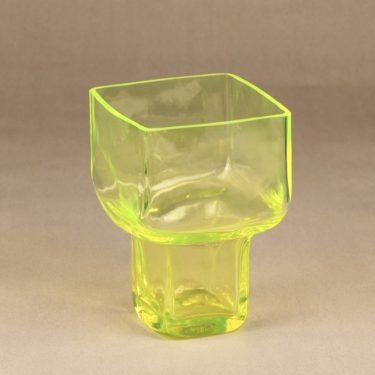 Riihimäen lasi Pultti maljakko, keltainen, suunnittelija Helena Tynell,