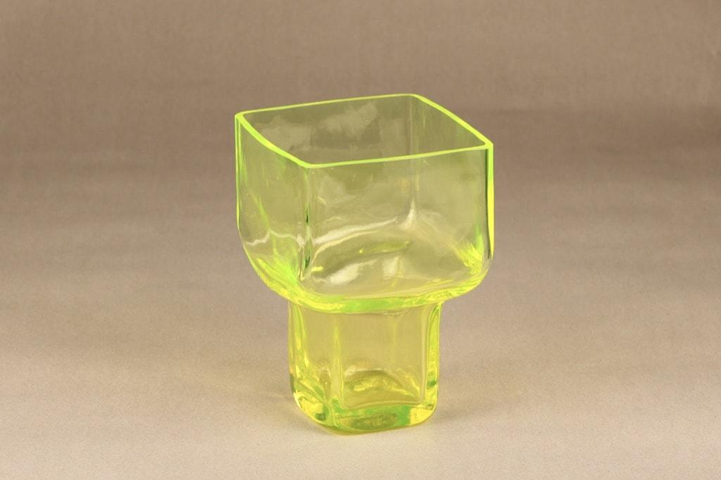 Riihimäen lasi Pultti maljakko, keltainen