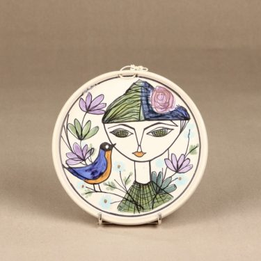 Kupittaan savi wall plate hand-painted designer Laila Zink