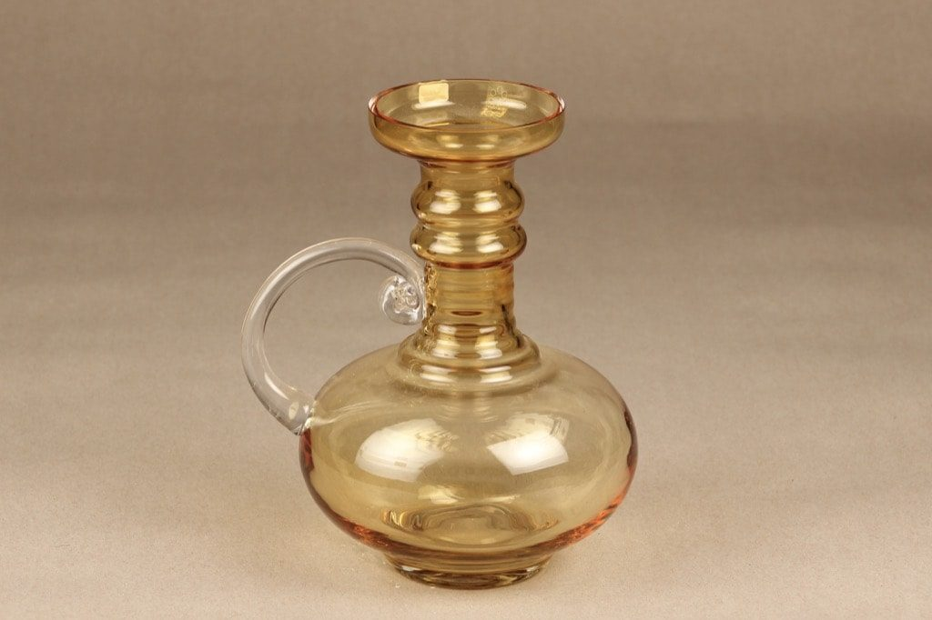 Riihimäen lasi Kleopatra maljakko, amber, suunnittelija Tamara Aladin,