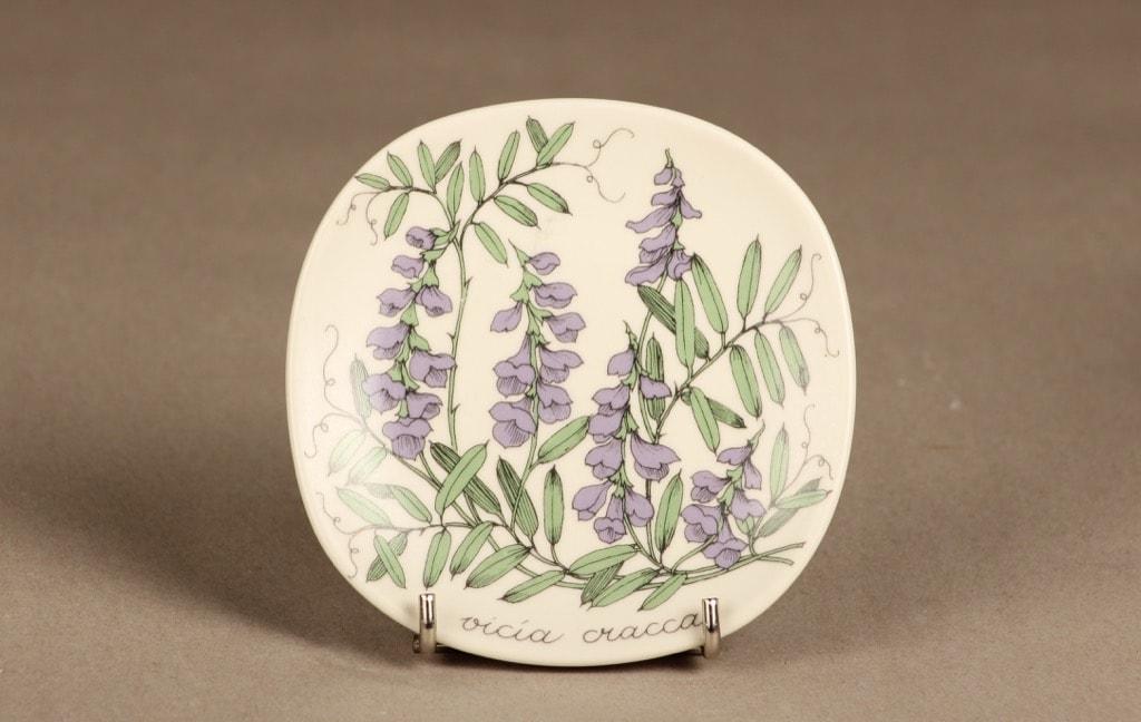 Arabia Botanica koristelautanen, Hiirenvirna, suunnittelija Esteri Tomula, Hiirenvirna, serikuva, kukka-aihe