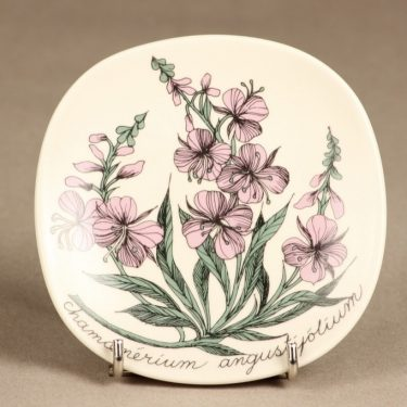 Arabia Botanica koristelautanen, Maitohorsma, suunnittelija Esteri Tomula, Maitohorsma, serikuva, kukka-aihe