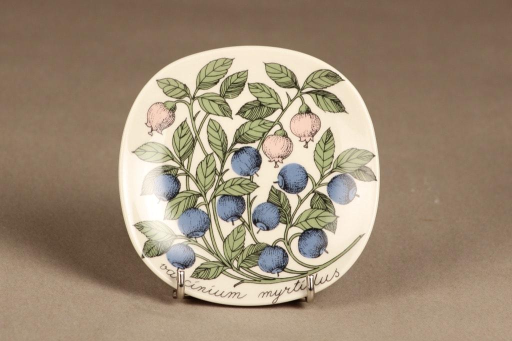 Arabia Botanica koristelautanen, Mustikka, suunnittelija Esteri Tomula, Mustikka, serikuva, kukka-aihe