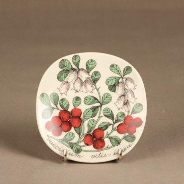 Arabia Botanica koristelautanen, Puolukka, suunnittelija Esteri Tomula, Puolukka, serikuva, marja-aihe