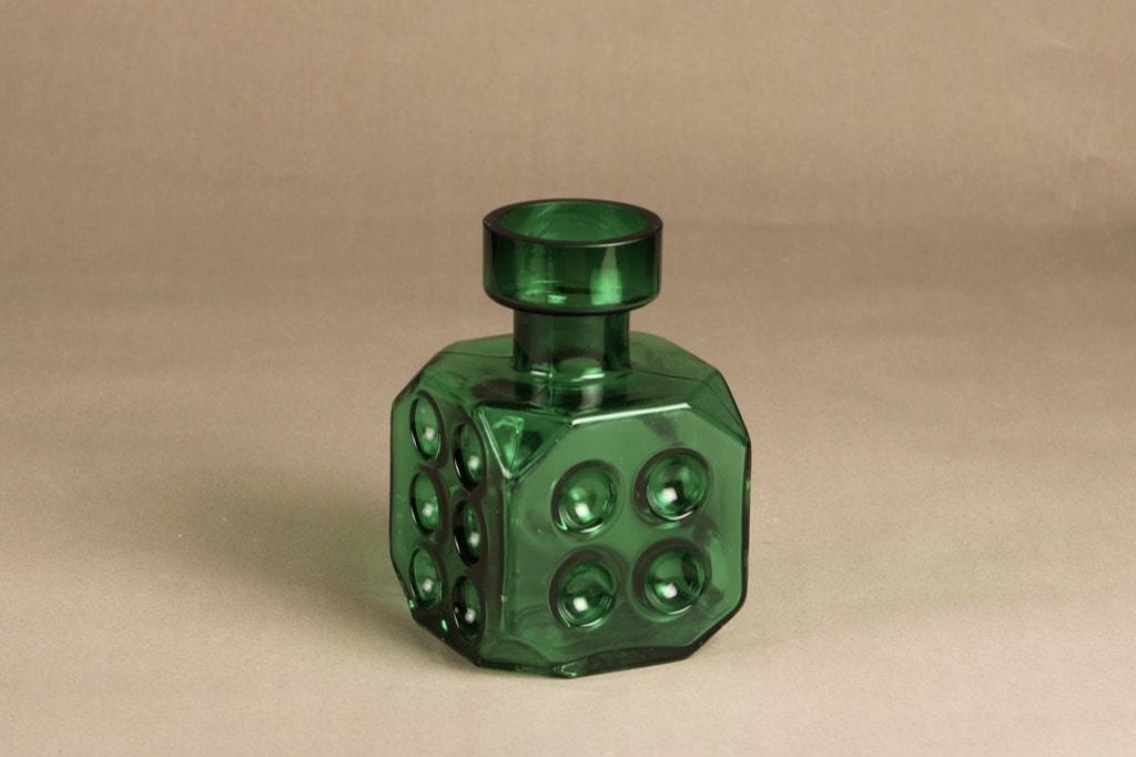 Riihimäen lasi Arpa on heitetty koristepullo, vihreä, suunnittelija Erkkitapio Siiroinen,