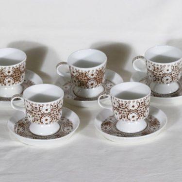 Arabia Ali kahvikupit, 5 kpl, suunnittelija Raija Uosikkinen, kuparipainokoriste