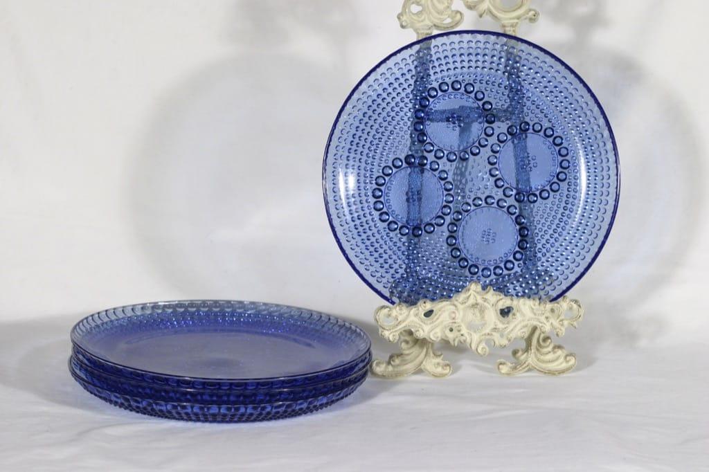 Riihimäen lasi Grapponia lautaset, sininen, 4 kpl, suunnittelija Nanny Still,