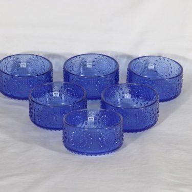 Riihimäen lasi Grapponia jälkiruokamaljat, sininen, 6 kpl, suunnittelija Nanny Still,