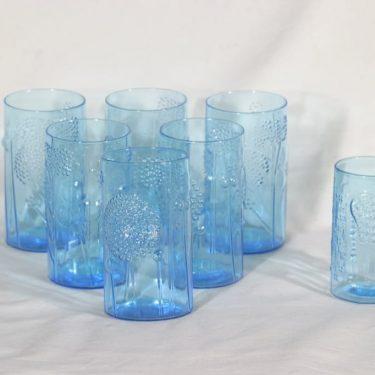 Nuutajärvi Flora lasit, sininen, 6+1 kpl, suunnittelija Oiva Toikka,