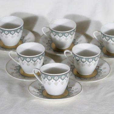 Arabia Katinka kahvikupit, 6 kpl, suunnittelija Hilkka-Liisa Ahola,