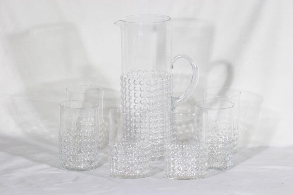 Riihimäen lasi Grappo kaadin 1.5 l ja grogilasit 30 cl, kirkas, 6 kpl, suunnittelija Nanny Still,