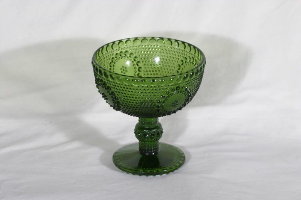 Riihimäen lasi Grapponia malja, vihreä, suunnittelija Nanny Still,