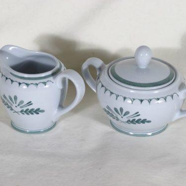 Arabia Green Thistle sokerikko ja kermakko, käsinmaalattu, suunnittelija , käsinmaalattu