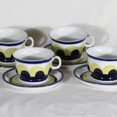 Arabia Paju teekupit, 22.5 cl, 4 kpl, suunnittelija Anja Jaatinen-Winquist, 22.5 cl, käsinmaalattu, signeerattu