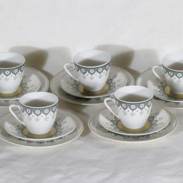 Arabia Katinka kahvikupit ja aluslautaset, 5 kpl, suunnittelija Hilkka-Liisa Ahola, siirtokuva