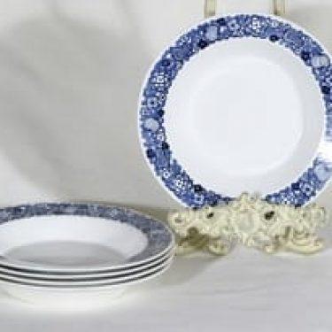 Arabia lautaset, kukkakuvio, 5 kpl, suunnittelija , kukkakuvio, syvä