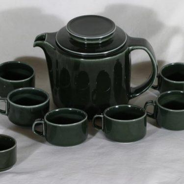 Arabia S kahviastiasto 6:lle, vihreä, suunnittelija Göran Bäck,