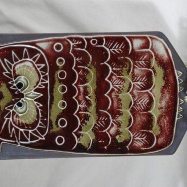 Arabia Pöllö seinälaatta, käsinmaalattu, suunnittelija Annikki Hovisaari, käsinmaalattu, massiivinen, signeerattu