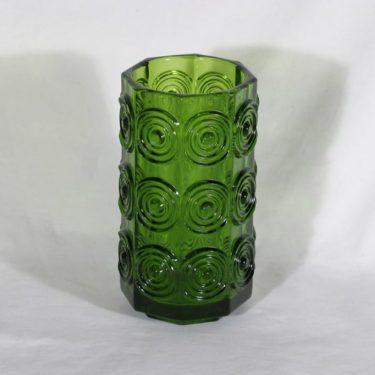 Riihimäen lasi Rengas maljakko, vihreä, suunnittelija Tamara Aladin,