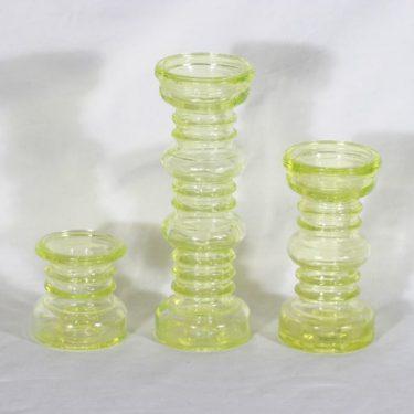 Riihimäen lasi Carmen kääntömaljakot, keltainen, 3 kpl, suunnittelija Tamara Aladin,