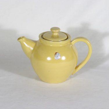 Kupittaan savi teekannu, keltainen, suunnittelija , koristelematon