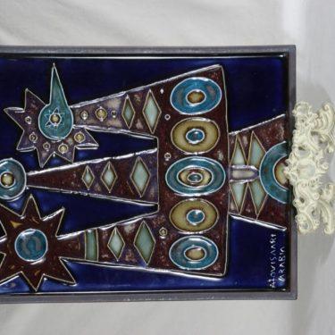 Arabia Riikinkukko seinälaatta, käsinmaalattu, suunnittelija Raija Uosikkinen, käsinmaalattu, massiivinen, signeerattu