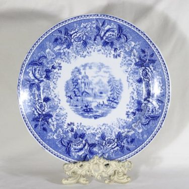Arabia Maisema platter, blue, copper ornament, big