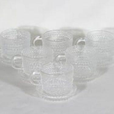 Nuutajärvi Kastehelmi kahvikupit, kirkas, 6 kpl, suunnittelija Oiva Toikka,
