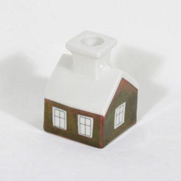 Arabia Talo kynttilänjalka, käsinmaalattu, suunnittelija Heljä Liukko-Sundström, käsinmaalattu, signeerattu