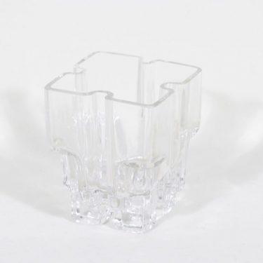 Riihimäen lasi Paalutalo maljakko, signeerattu, suunnittelija Helena Tynell, signeerattu, pieni
