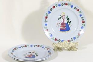 Arabia R plates, girl motive, 3 pcs, silk screening
