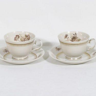 Arabia AX kahvikupit, kukkakuvio, 2 kpl, suunnittelija , kukkakuvio, siirtokuva