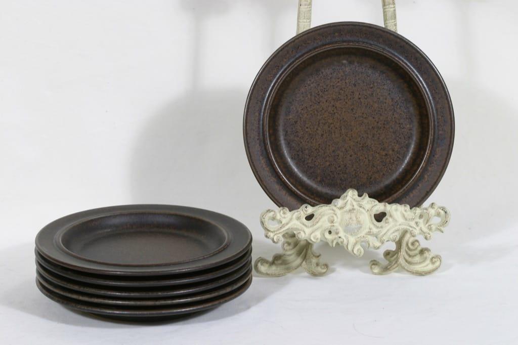 Arabia Ruska lautaset, ruskea, 6 kpl, suunnittelija Ulla Procope,