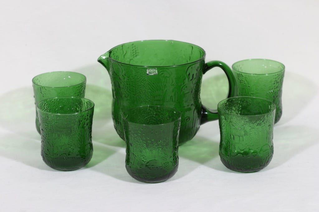 Nuutajärvi Fauna kaadin ja lasit, vihreä, 5 kpl, suunnittelija Oiva Toikka,